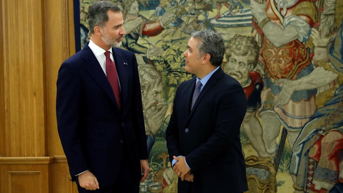 El rey Felipe VI y el presidente de Colombia, Iván Duque, durante una visita del mandatario iberoamericano en 2018.