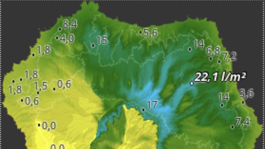 Mapa de HD Meteo La Palma de la lluvia caída hasta las 19.20 horas de este viernes en diferentes puntos de la Isla.