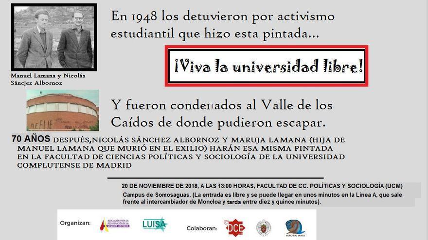 Cartel para revivir la pintada '¡Viva la Universidad libre!'.