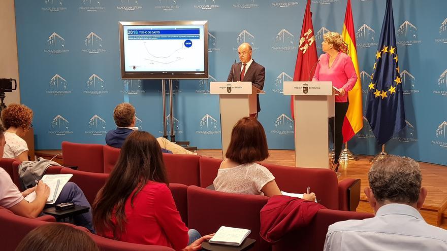 Andrés Carrillo y Noelia Arroyo presentando el techo de gasto