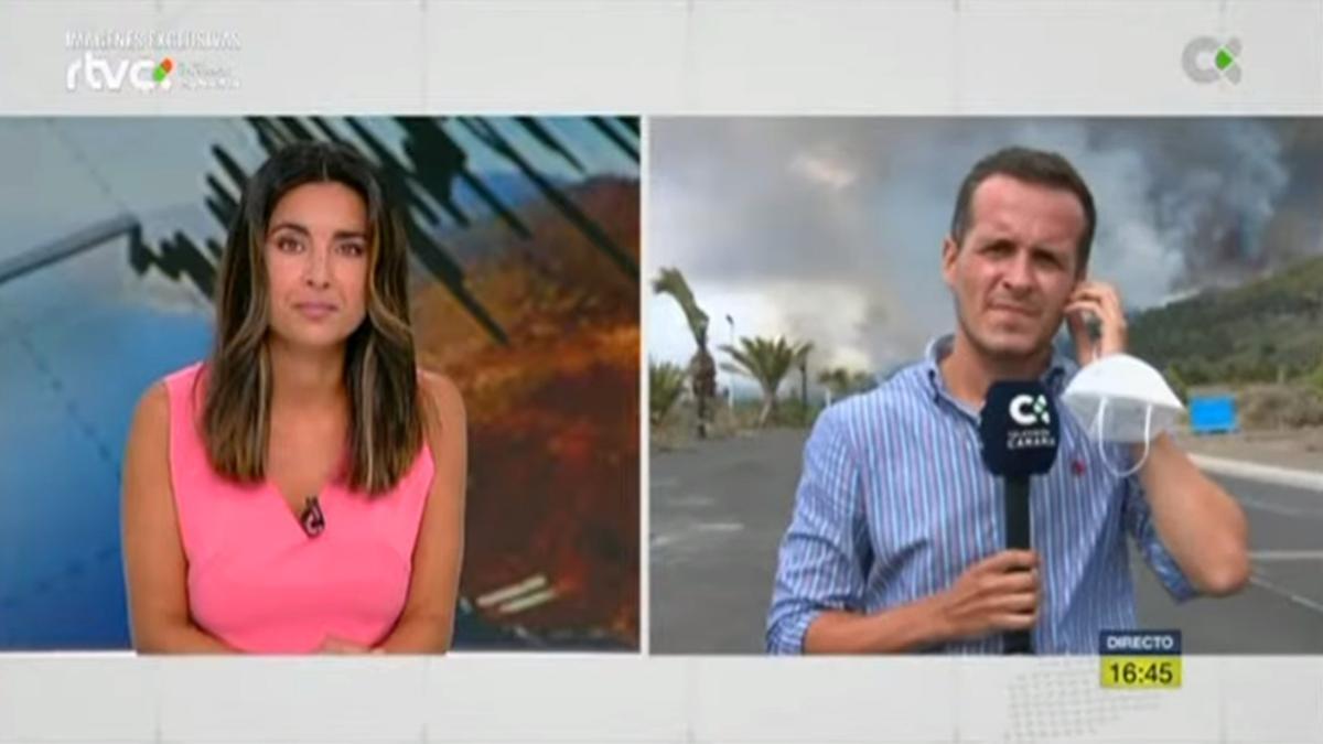 Fátima Plata conecta con el reportero en la histórica cobertura de la TV Canaria