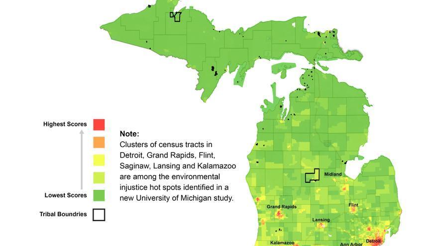 Mapa que muestra los puntos calientes de la justicia medioambiental en el estado de Michigan