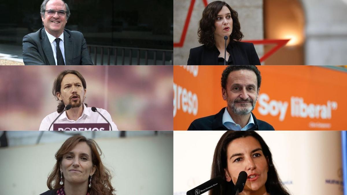 Los seis candidatos a las elecciones en la Comunidad de Madrid