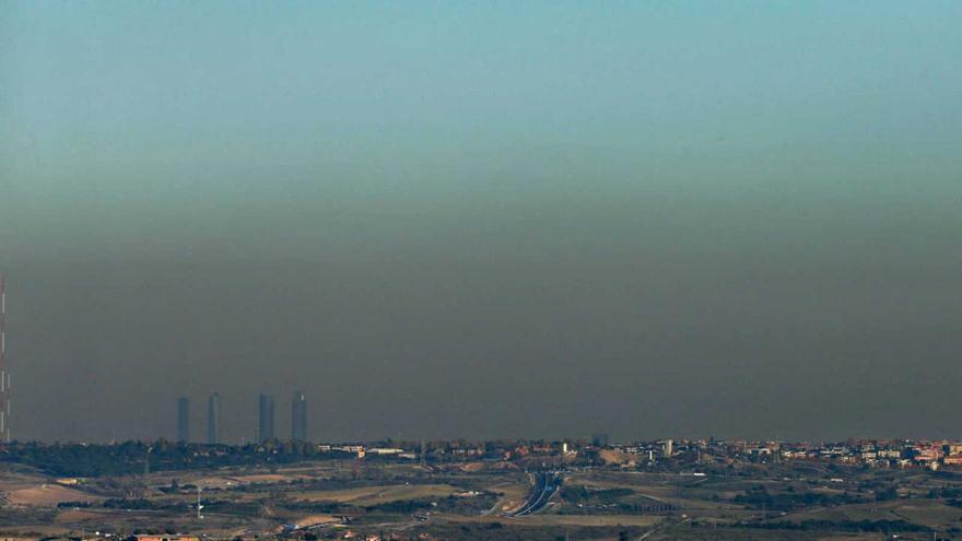 Vista de la boina de contaminación sobre Madrid