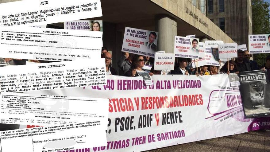 Autos judiciales sobre el accidente de Angrois y concentración de víctimas ante los juzgados de Santiago