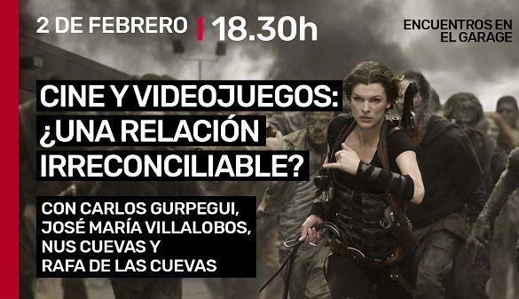 """Cartel Encuentros en el Garaje """"Cine y Videojuegos: ¿una relación irreconciliable?"""""""