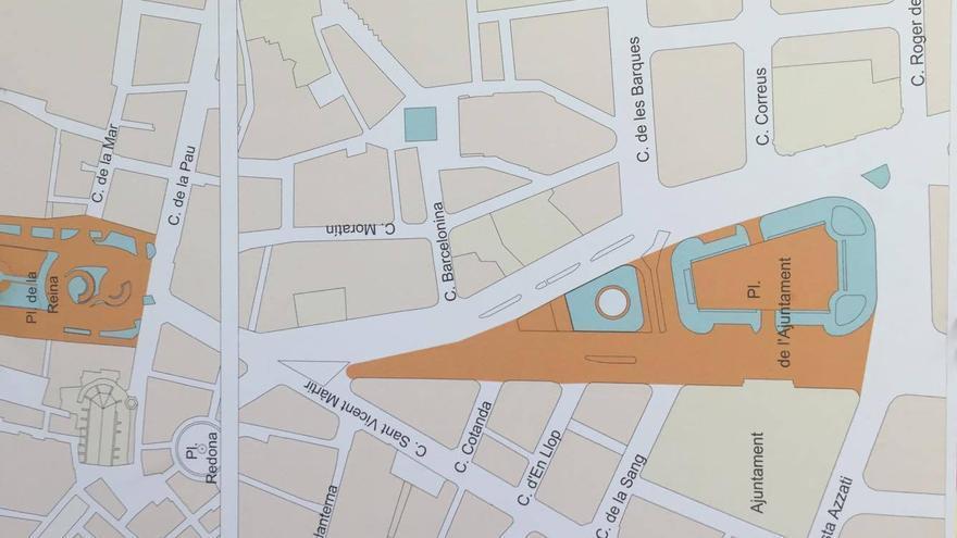 Plano con las nuevas zonas peatonales, en naranja.