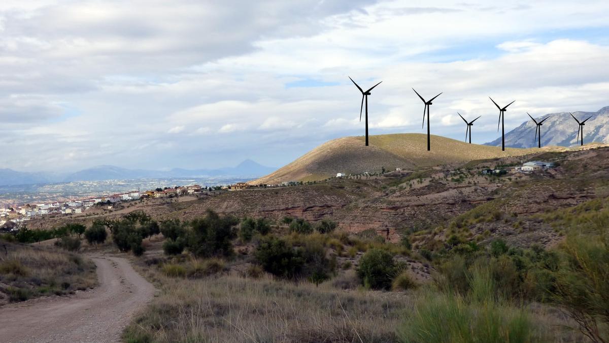 Simulación de parte de los molinos eólicos que se construirían en el entorno