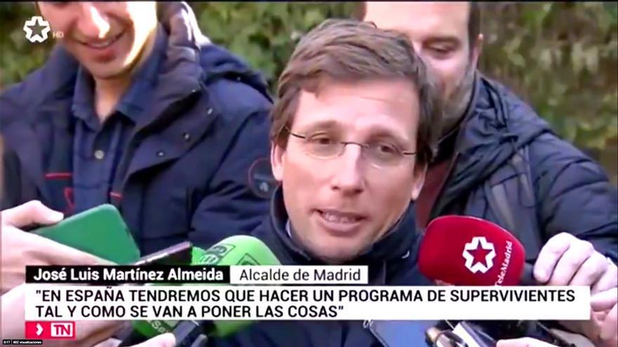 """Martínez -Almeida, en Telemadrid: """"Con este Gobierno también vamos a tener que hacer un 'Supervivientes'"""""""