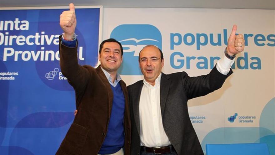 Sebastián Pérez y Juanma Moreno tras el Congreso que eligió presidente al primero