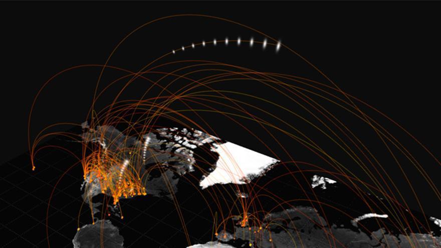 """Visualización de Jer Thorp: """"Acabo de aterrizar en..."""" (Foto: blprnt_van en Flickr)"""