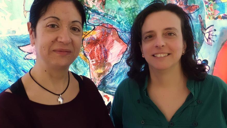 Isabel Bueno y Marta González, en el Núñez (foto: Miriam Martín)
