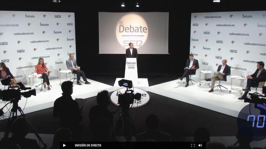 Un momento del debate en Radio Valencia entre los candidatos a la Generalitat Valenciana