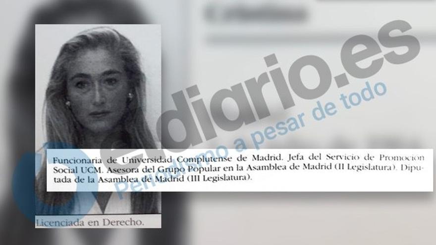 Reconstrucción de la ficha de diputada de Cristina Cifuentes en la IV Legislatura de la Asamblea de Madrid.