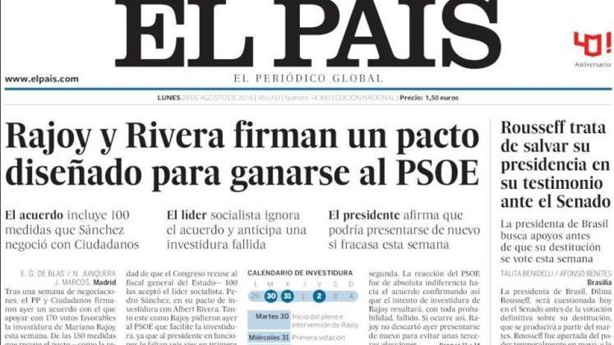 Portada 'El País' 29 de agosto 2016.