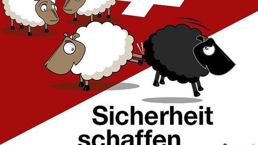 Cartel del referéndum en Suiza.