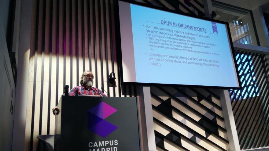 Ivan Herman durante su presentación en el Día W3C España en el Campus Google de Madrid. CC: Twitter W3C