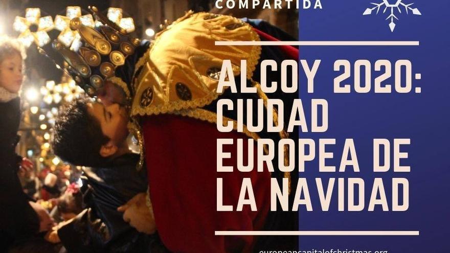 Cartel confeccionado por el PP de la propuesta de Alcoi, Ciudad Europea de la Navidad 2020