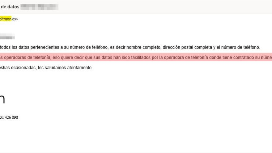 Email de contestación de Bitmon en el que afirma que la fuente de sus datos son las 'telecos'