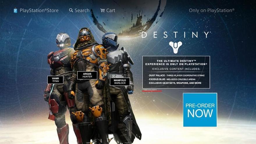 destiny PS4 contenido