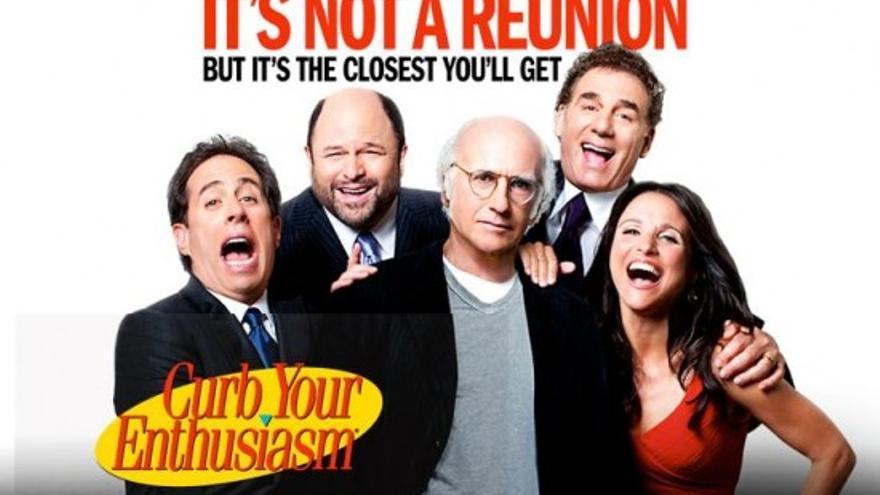 Imagen promocional del reencuentro de los actores de Seinfeld junto a Larry David