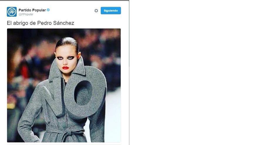 """El PP difunde en Twitter """"El abrigo del 'no' de Pedro Sánchez"""" coincidiendo con la Fashion Week"""