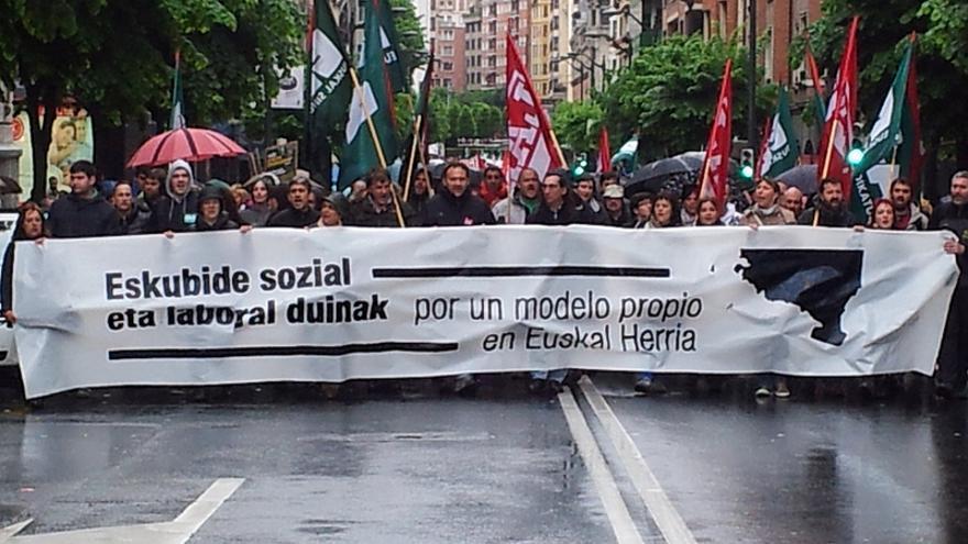 Manifestación en Bilbao convocada, entre otros, por el sindicato de LAB en Metro Bilbao. \ LAB Metro Bilbao