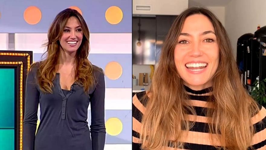 Paloma López en 'La Ruleta' (izq) frente su video-felicitación por el 15 aniversario del programa