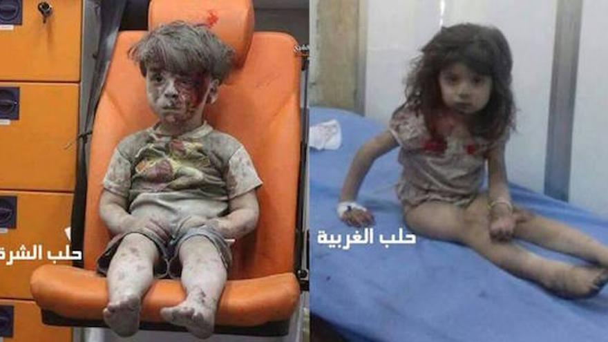 Dos niños heridos en Alepo en la guerra siria. A la izquierda, por un bombardeo del Gobierno; a la derecha, por otro de los insurgentes.