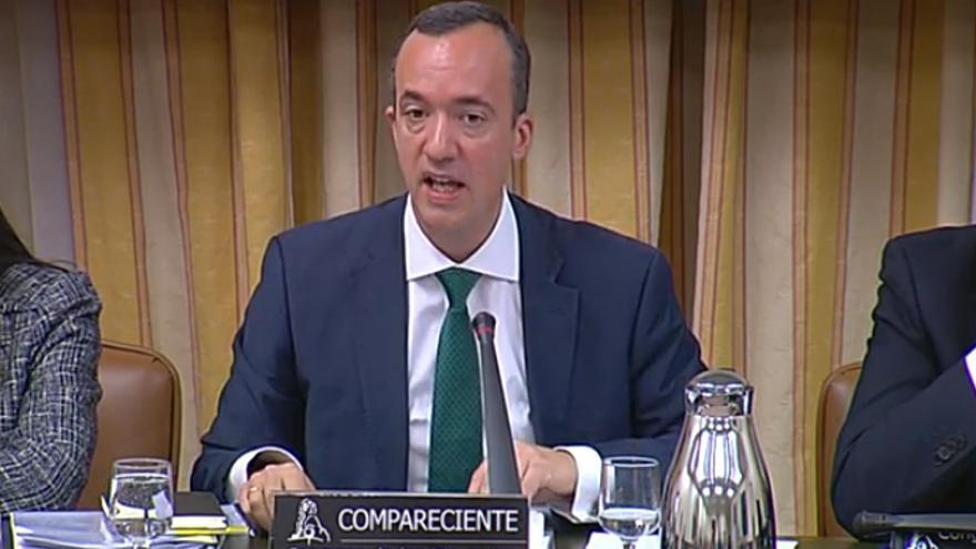 Captura del secretario de Estado de Seguridad Francisco Martínez durante la Comisión de Interior por la tragedia de Ceuta