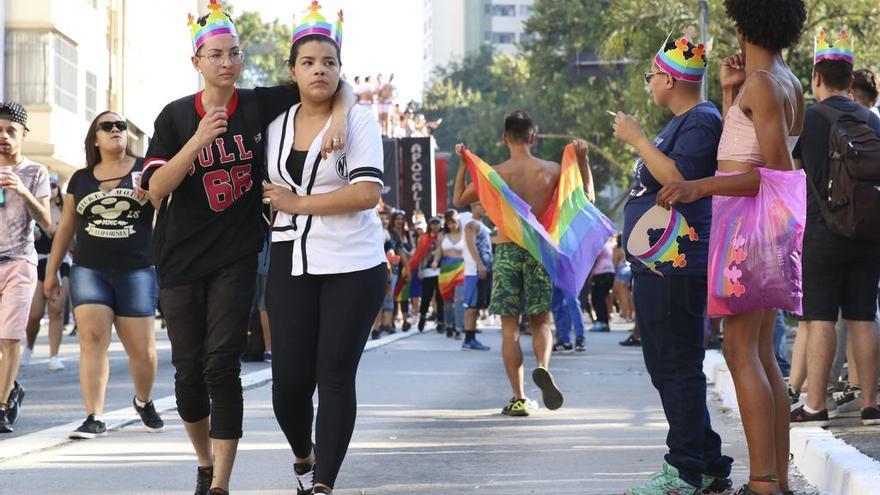 Imagen de la marcha del Orgullo en 2019 en Sao Paulo.