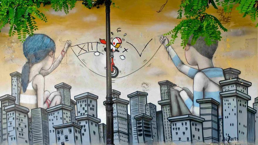 Grafitti urbano en las calles de la Butte Aux Cailles, en París.