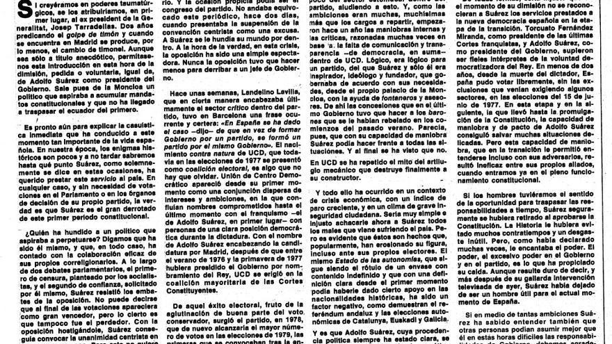 Editorial de El Periódico tras la dimisión de Suárez