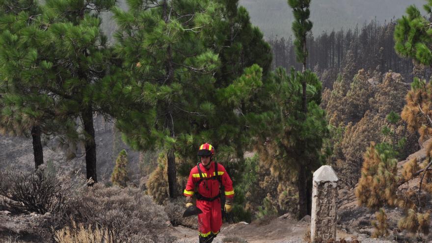 Un miembro de la UME en el Pico de las Nieves