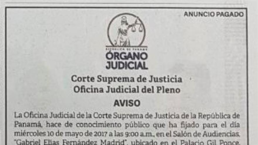 Publican anuncios en Miami para notificar a Martinelli de un proceso en Panamá
