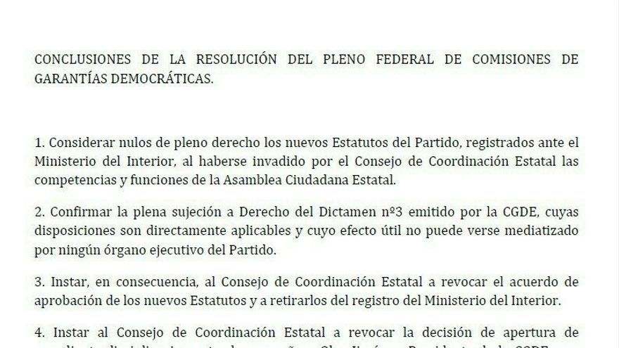 Conclusiones de la resolución del pleno federal de comisiones de garantías democráticas de Podemos