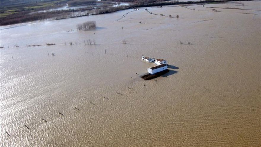 La crecida del Ebro deja Navarra tras anegar miles de hectáreas