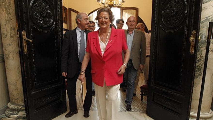La exalcaldesa Rita Barberá, en el Ayuntamiento de Valencia