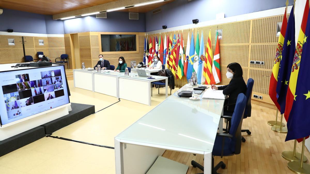 La ministra Carolina Darias, en la reunión de ministros de Sanidad europeos de esta tarde.