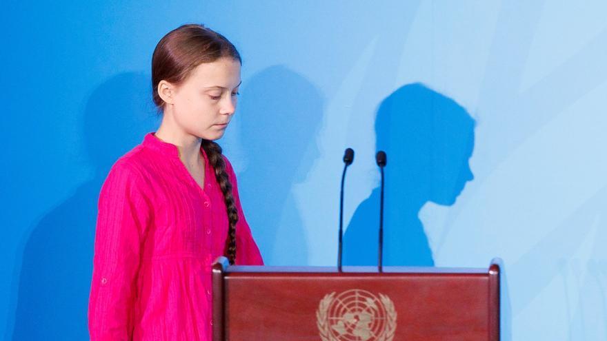 Greta Thunberg, durante su intervención en la cumbre de la ONU por el clima.