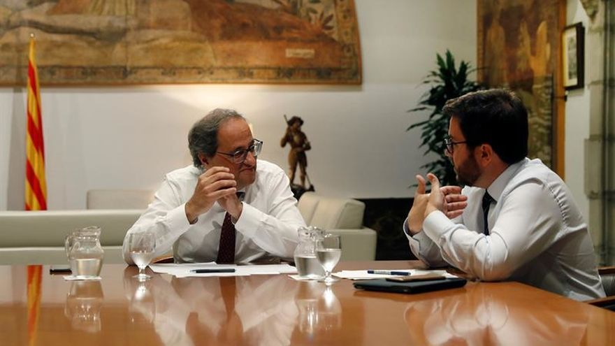 Torra y Aragonès, reunidos en el Palau durante la última crisis entre JxCat y ERC