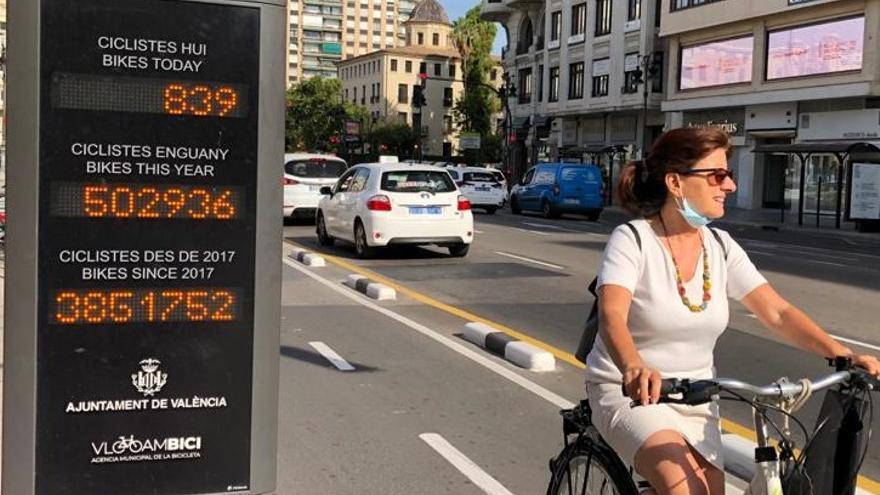 Una ciclista junto al medidor de la calle Xàtiva.