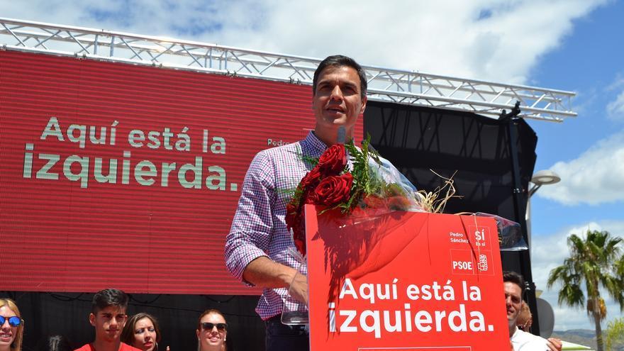 Pedro Sánchez, durante el mitin en Cártama   N.C.