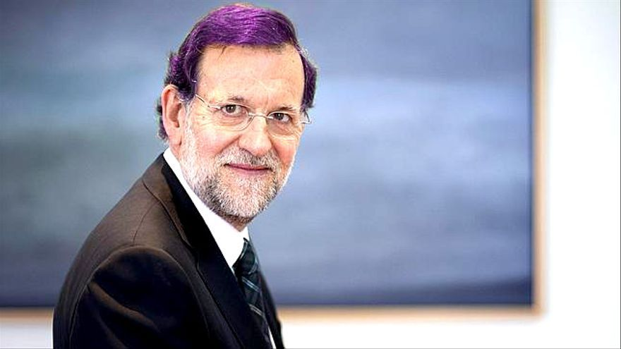 Rajoy con el pelo púrpura. Modificación a partir de fotografia de Ignacio Gil.