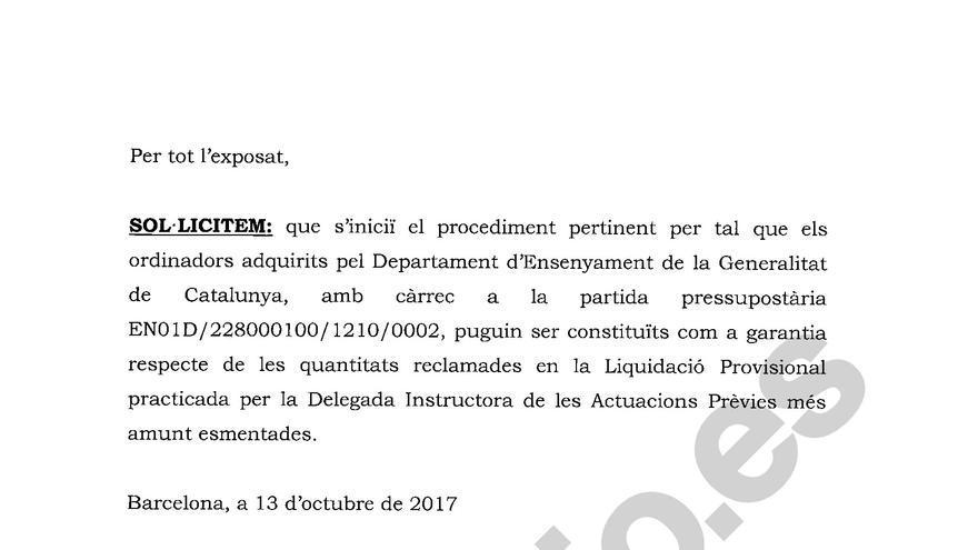Detalle de la solicitud de Mas y Rigau a la Generalitat para que deposite parte de sus fianzas
