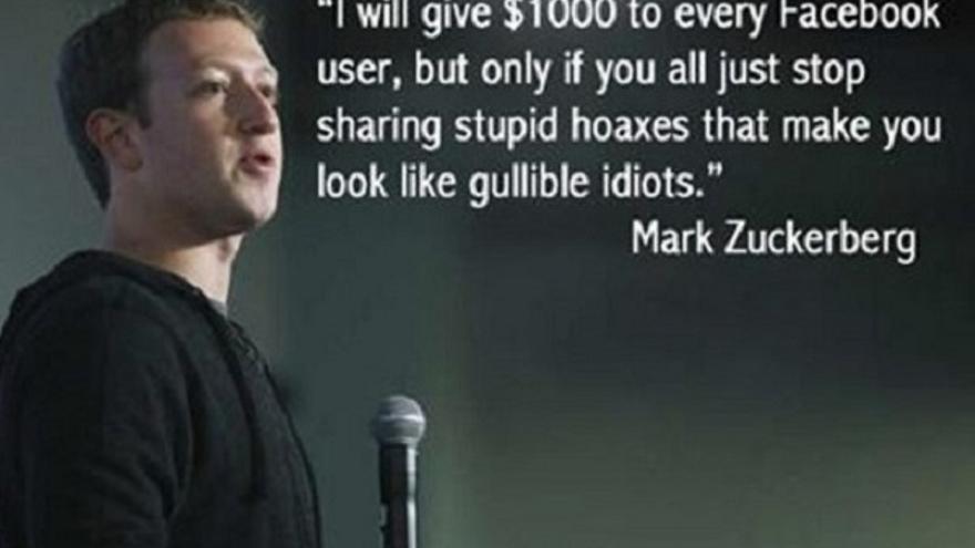 El meme falso de Zuckerberg donde ofrece 1.000 dólares