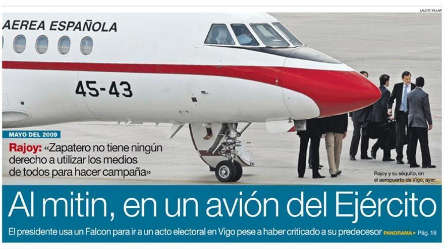 Imagen de la portada de El Periódico con la noticia del viaje de Rajoy.