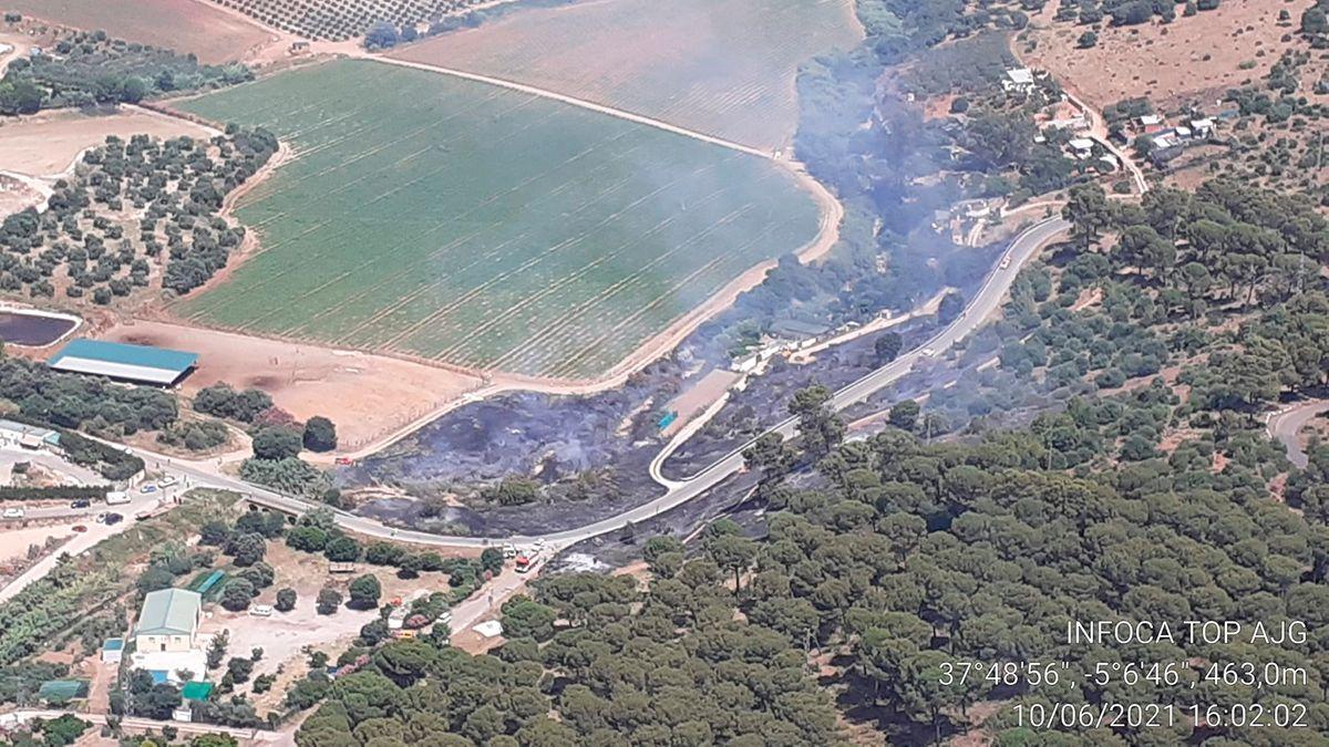 Imagen del incendio forestal en Posadas.