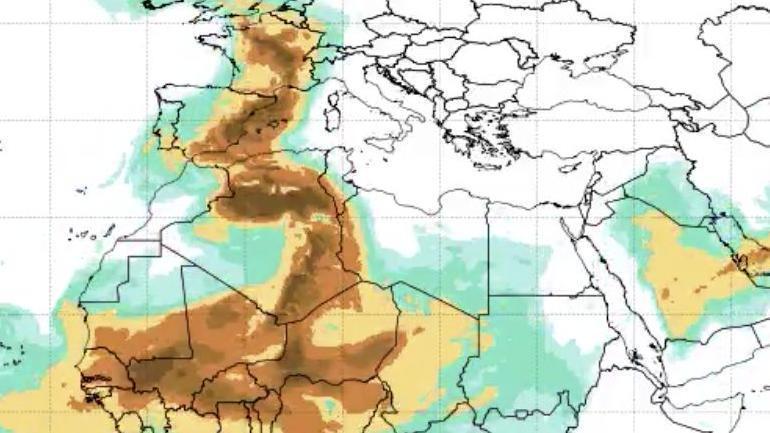 La calima que se dirige este miércoles de África a la Península