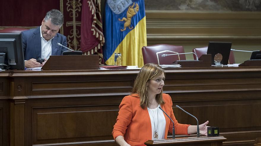 Nieves Lady Barreto en un pleno del Parlamento de Canarias